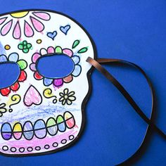 Printable Sugar Skull Masks to Color | Spoonful