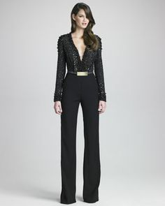 Beaded-Bodice Jumpsuit by Elie Saab l Bergdorf Goodman.