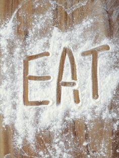 Word Eat in Flour by Neil Overy. Print from Art.com, $29.99