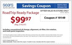 sears oil change coupon june