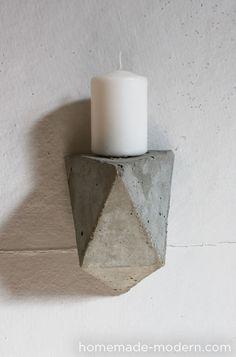 faceted concrete shelves