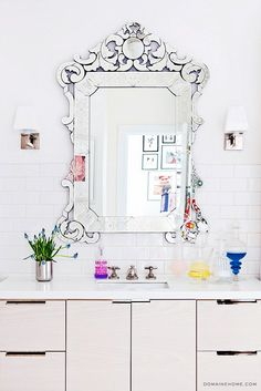 20 Must-Know Terms for Buying the Perfect Mirror | DomaineHome.com // Venetian mirror in bathroom.