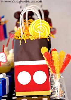 Mickey Mouse Party Ideas Favor Bags Tutorial DIY via Kara's Party Ideas KarasPartyIdeas.com #mickey #mouse #party #favors #ideas #supplies
