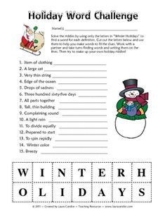 "Free Holiday Word Challenge! This engaging word game challenges students to use the letters in the words ""Winter Holidays"" to solve riddles."