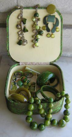 Green bakelite gems