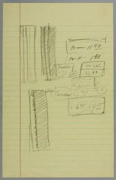 Barnett Newman, Sketches for Here II, 20th century, Harvard Art Museums/Center for the Technical Study of Modern Art. sketch