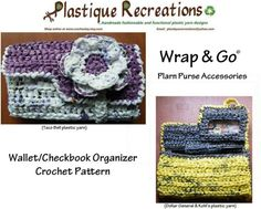 PDF Crochet Pattern ...WRAP and GO Wallet/Checkbook Organizer with flower wraparound band closure $3.50