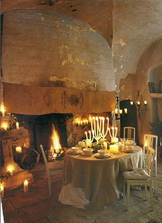 dining rooms, french farmhouse, romantic dinners, hearths, romances, fireplaces, french country, candl, light