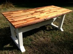 Butcher block table top and trestle frame by SpottedDogWoodshop, $1200.00
