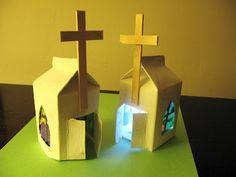 Milk Carton Easter Chapels - sweet Easter craft for kids.