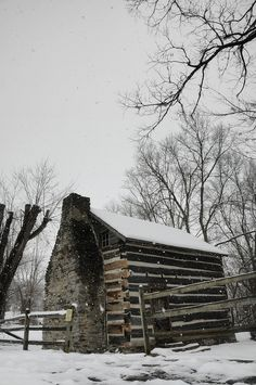 Rustic winter cabin.