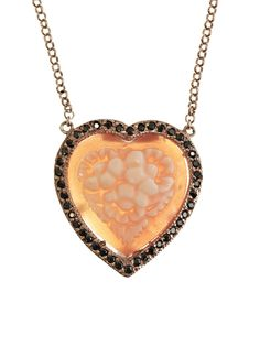 Amedeo Nyc heart cameo and diamond necklace