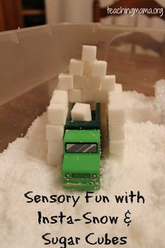 Sensory Tub with Insta-Snow & Sugar Cubes!