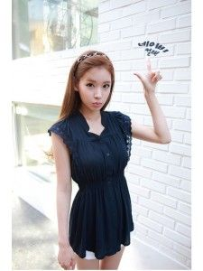 Korean Style V-neck Lace Double-breasted Waist Shaping Dress Blue