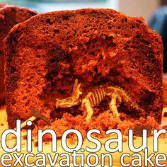Dinosaur excavation cake - yummy and fun idea!