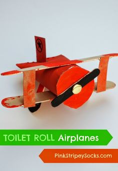 Make biplanes from toilet paper rolls, popsicle sticks, and cereal boxes! Easy and fun kids craft!  #planes #creativepreschooler