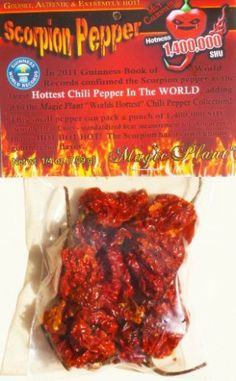 Dried Trinidad Scorpion Chili Pepper Pods – Hard to Find Limited Edition of the Hottest Pepper in the World .