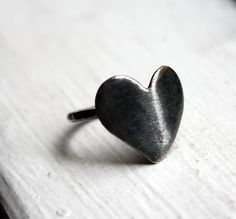 Oxidized Heart Ring Solid Sterling Silver by RachelPfefferDesigns