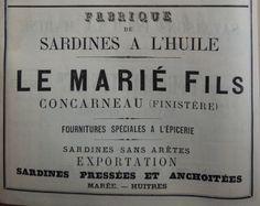 Concarneau. Publicité Le Marié fils, fabrique de sardines à l'huile. 1882.