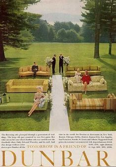 Awesome vintage ad. Love couches instead of chairs for a ceremony.