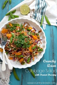 Mandarin Orange Cabbage Salad with Peanut Dressing - Country Cleaver  I'll use GF noodles for this - or maybe just slivered almonds!