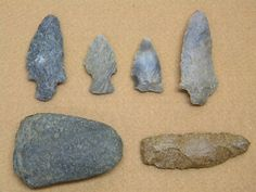 Arrowheads Rock Tools Native American Indian Tool Spear Artifacts LOT of 6 pcs.