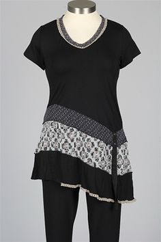 Dolcezza - V-Neck Tunic - Black & Khaki. wonderful mix.