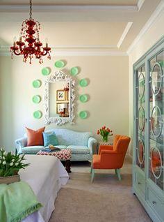 interior design, tobi fairley, living rooms, orang, color schemes, color combos, plate, hous, aqua