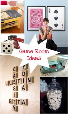 Game room ideas www.thepinkflour.com. I want to do Scrabble tiles like those somewhere in the house