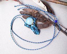 Micro macrame necklace  Ethnic Tribal Boho Blue by MartaMacrame.