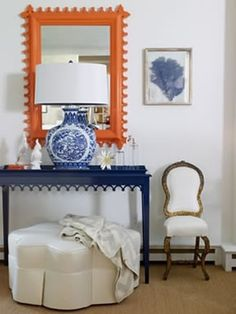 love the combination and balance of colors here with a little pattern in the lamp and the framed item ... without the addition of pattern it would have been blah even though the  color use is bold. Important to use color + pattern