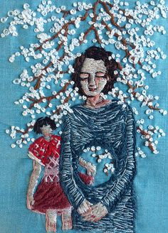 """little by little, there was scarcely anything left - 4x3"""" embroidery on silk, by Michelle Kingdom"""