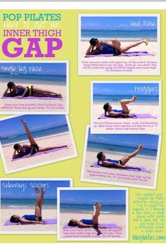 Pilates Inner Thigh workout ~would take 5 mins., do during the commercial break of your favorite show. the gap, leg exercises, fitness workouts, pop pilates, workout motivation, thigh workouts, thigh exercises, leg workouts, thunder thighs