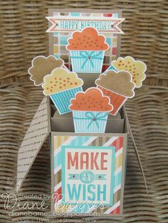 Cupcake pop up card in a box