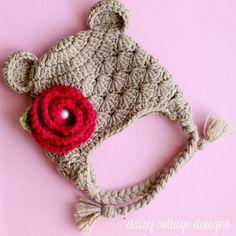 pattern, shabbi chic, shabby chic, chic hat, daisi, cottage design, brown bear, bear hat, winter hats