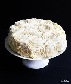 Rose Cake Tutorial. Could put roses around the top edges to girly it up...??