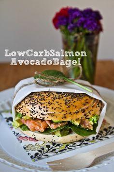 Lower Carb Stuffed Salmon & Avocado Bagel