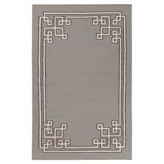 Bringvisual appeal to your den or define areas in the living room with this reversible hand-woven dove gray rug, showcasing a geometric-detailed double bor...