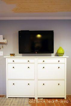 tv console entertainment center using ikea shoe cabinets ikea hack