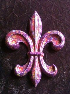 Fleur de Lis handmade mardi gras purple decorative by AttalaArt, $40.00