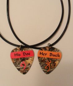 His Doe Her Buck guitar pick matching couples necklace set deer mossy oak camo country jewelry on Etsy, $25.00 countri jewelri, guitar picks, couple necklaces, coupl necklac, country camo, country necklaces, camo country, match coupl, camo jewelri
