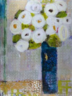 """White Rose Remix"" 40x30 mixed media Anne Shain Gallery"