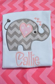 Girls Love Elephant Appliqued Tshirt by SweetKeikiBoutiki on Etsy, $18.00