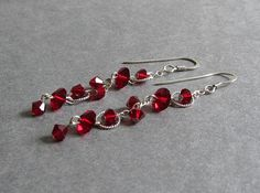 Heavenly Earrings - Garnet Siam Red Swarovski Crystal and Sterling Silver Linear Circle Dangle Earrings, custom colors, bridesmaid earrings, wedding jewelry