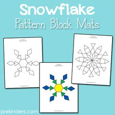 Snowflake Pattern Block Mats - free printables! - pinned by @PediaStaff – Please Visit ht.ly/63sNt for all our ped therapy, school & special ed pins