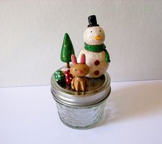 Winter Wonderland Jar  Paperclay Sculpture by PigAndPumpkin, $43.00