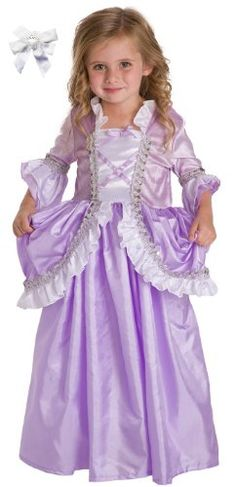2 Item Bundle: Little Adventures Purple  White Rapunzel Princess Dress Up Costume + Hair Bow-Girls ages 3-5-Machine Washable for only $29.99 You save: $8.00 (21%) + Free Shipping