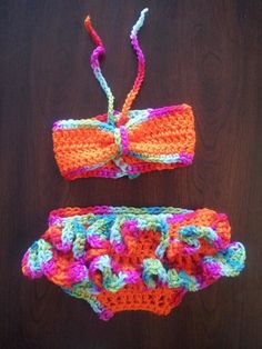 Crochet bandeau bikini ruffle bottoms, made & ready