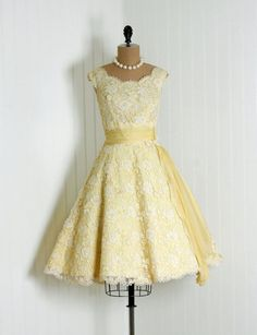 Party Dress: 1950's, Chantilly lace, heavily-scalloped appliqued sash-waist bodice, draped side peplum circle skirt.