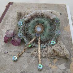BELLE EPOQUE Brooch - Corsage, Vintage, Lace, Edwardian, Bride, Beads, Sequins, Gold, Green, Cream